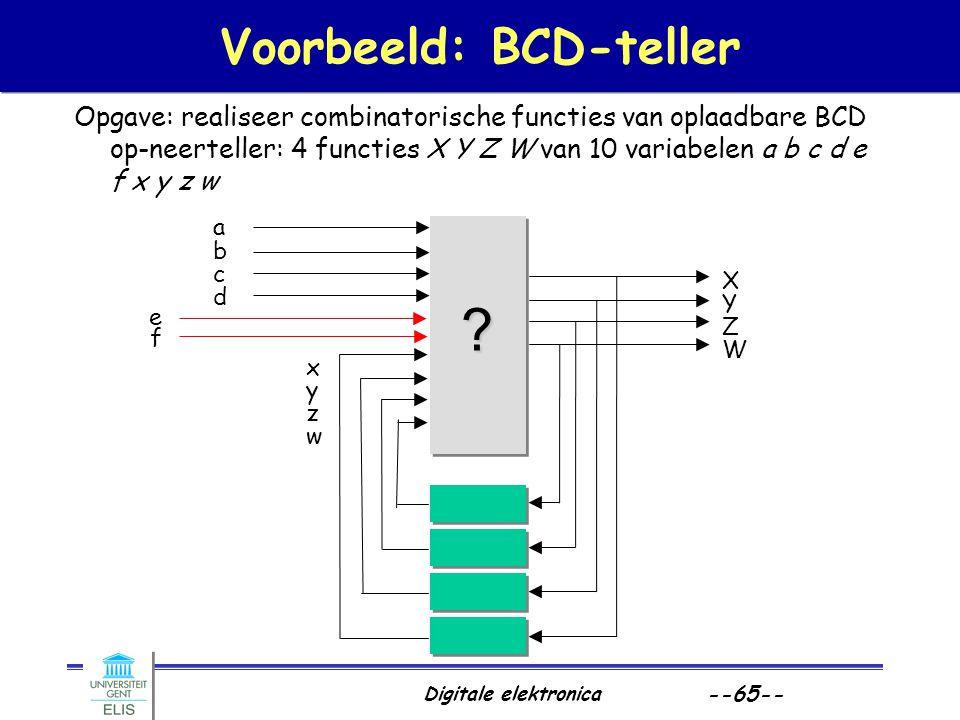 Digitale elektronica --65-- Voorbeeld: BCD-teller Opgave: realiseer combinatorische functies van oplaadbare BCD op-neerteller: 4 functies X Y Z W van