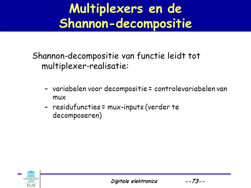 Digitale elektronica --73-- Multiplexers en de Shannon-decompositie Shannon-decompositie van functie leidt tot multiplexer-realisatie: –variabelen voo
