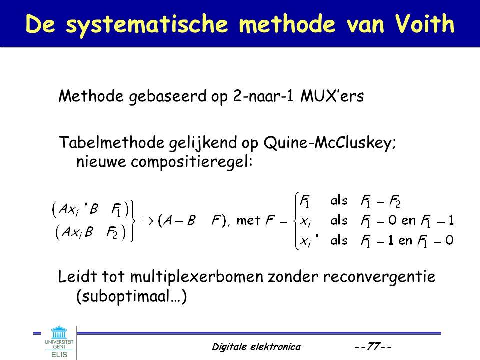 Digitale elektronica --77-- De systematische methode van Voith Methode gebaseerd op 2-naar-1 MUX'ers Tabelmethode gelijkend op Quine-McCluskey; nieuwe
