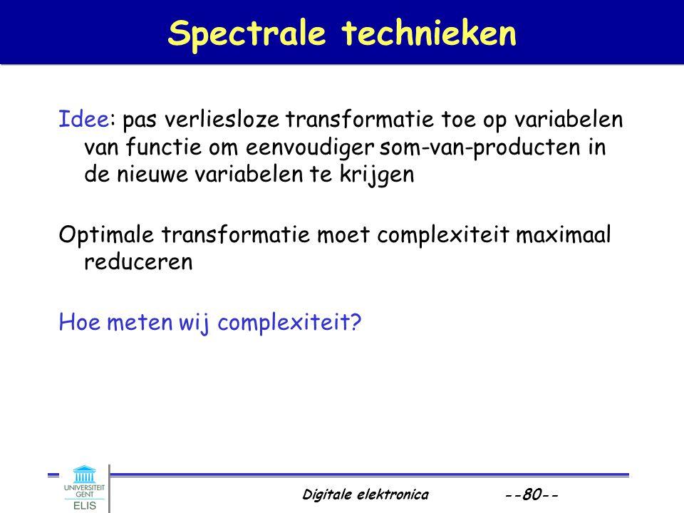 Digitale elektronica --80-- Spectrale technieken Idee: pas verliesloze transformatie toe op variabelen van functie om eenvoudiger som-van-producten in