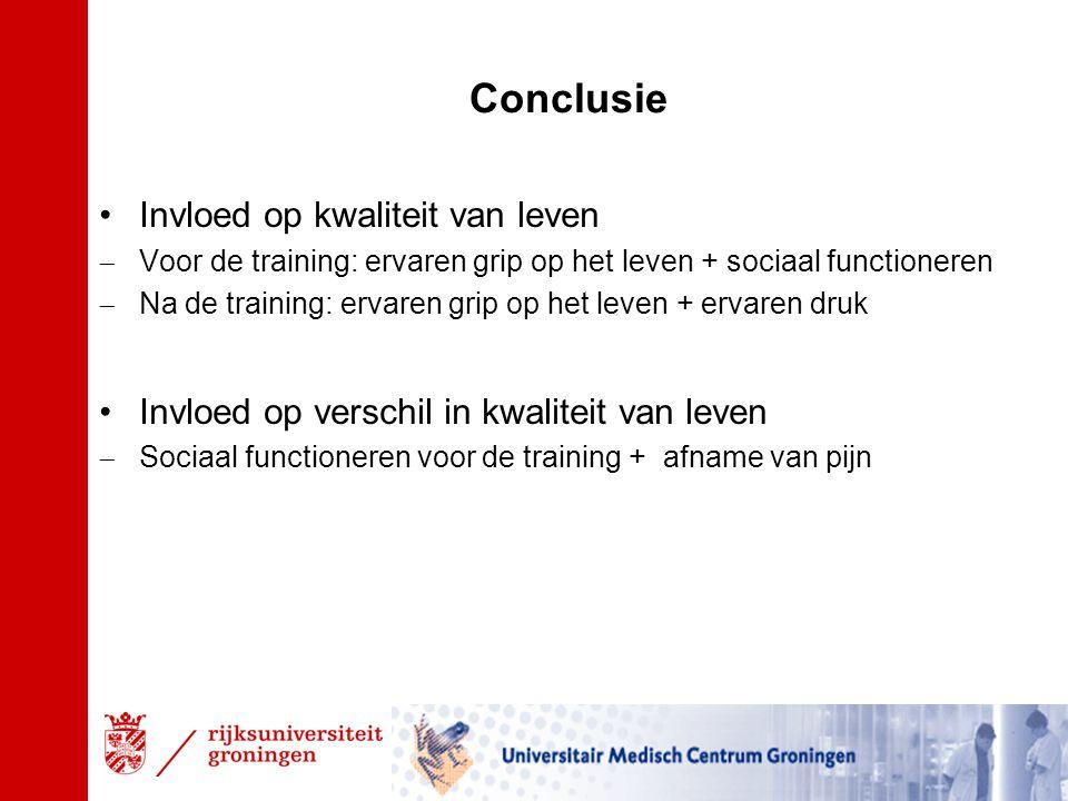 Conclusie Invloed op kwaliteit van leven  Voor de training: ervaren grip op het leven + sociaal functioneren  Na de training: ervaren grip op het leven + ervaren druk Invloed op verschil in kwaliteit van leven  Sociaal functioneren voor de training + afname van pijn