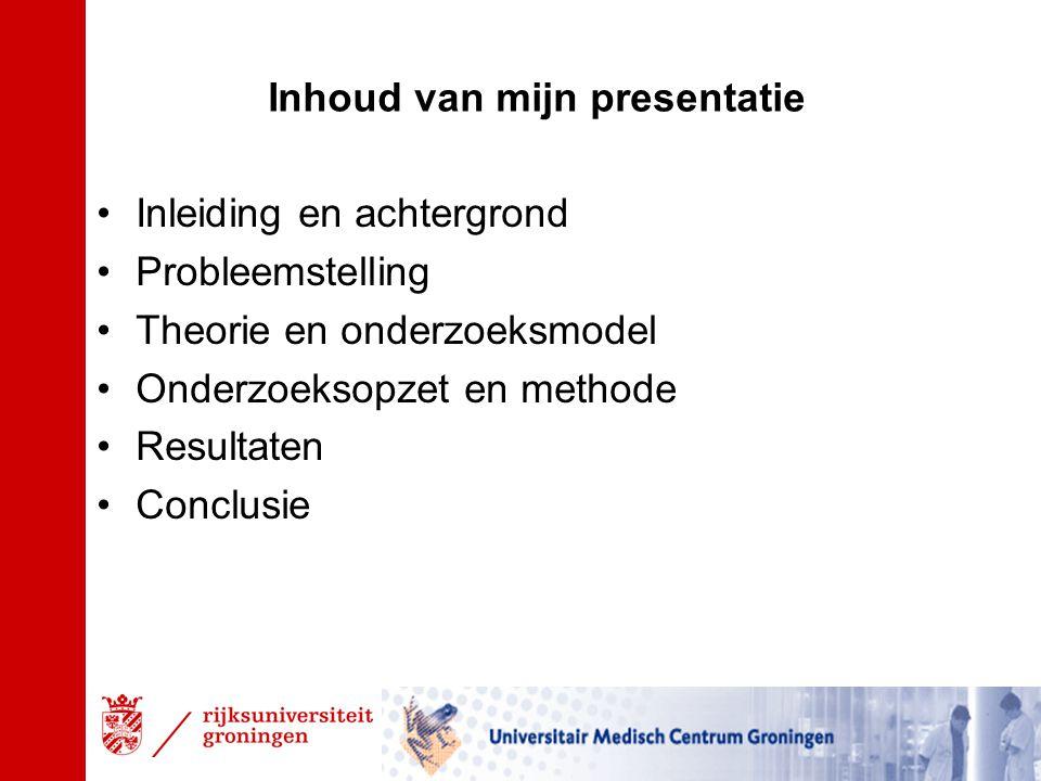 Inhoud van mijn presentatie Inleiding en achtergrond Probleemstelling Theorie en onderzoeksmodel Onderzoeksopzet en methode Resultaten Conclusie