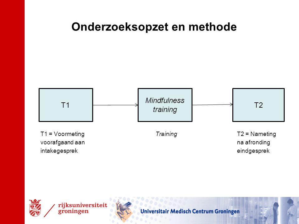 T1 = Voormeting TrainingT2 = Nameting voorafgaand aan na afronding intakegesprekeindgesprek T1T2 Mindfulness training Onderzoeksopzet en methode