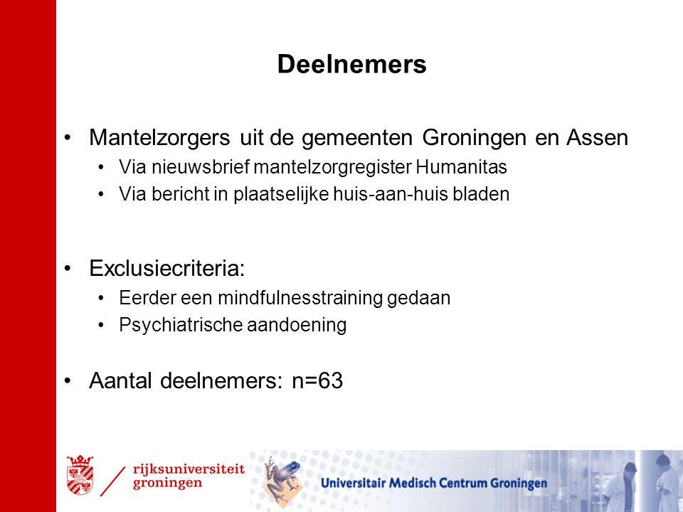 Deelnemers Mantelzorgers uit de gemeenten Groningen en Assen Via nieuwsbrief mantelzorgregister Humanitas Via bericht in plaatselijke huis-aan-huis bladen Exclusiecriteria: Eerder een mindfulnesstraining gedaan Psychiatrische aandoening Aantal deelnemers: n=63