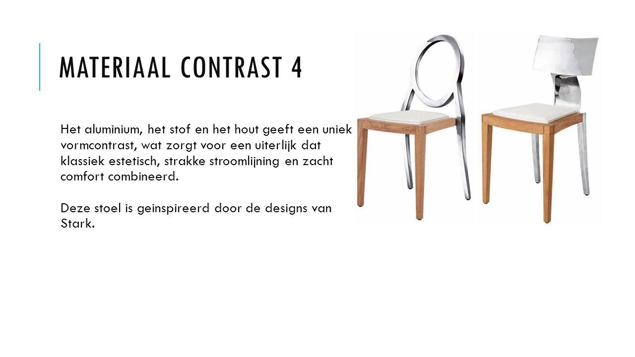 MATERIAAL CONTRAST 4 Het aluminium, het stof en het hout geeft een uniek vormcontrast, wat zorgt voor een uiterlijk dat klassiek estetisch, strakke stroomlijning en zacht comfort combineerd.