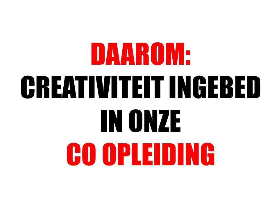DAAROM: CREATIVITEIT INGEBED IN ONZE CO OPLEIDING