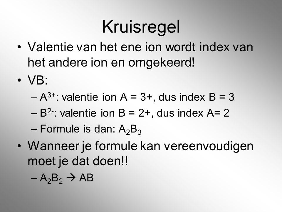 Kruisregel Valentie van het ene ion wordt index van het andere ion en omgekeerd! VB: –A 3+ : valentie ion A = 3+, dus index B = 3 –B 2- : valentie ion