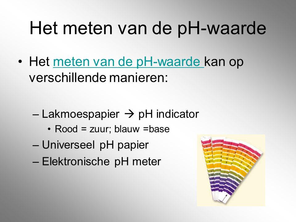 Het meten van de pH-waarde Het meten van de pH-waarde kan op verschillende manieren:meten van de pH-waarde –Lakmoespapier  pH indicator Rood = zuur;