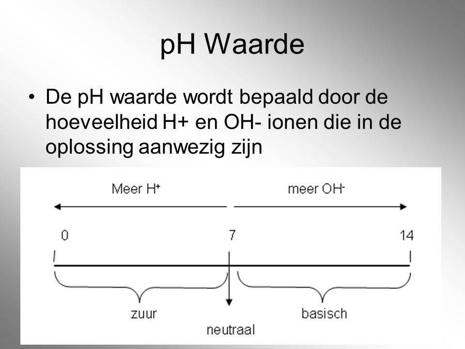 pH Waarde De pH waarde wordt bepaald door de hoeveelheid H+ en OH- ionen die in de oplossing aanwezig zijn