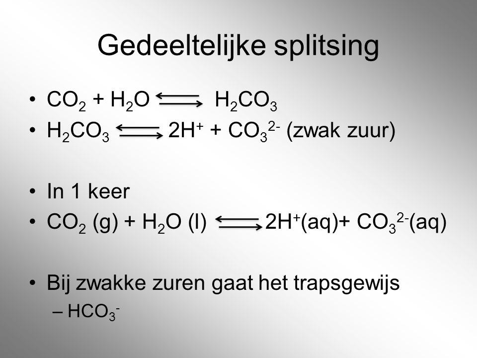 Gedeeltelijke splitsing CO 2 + H 2 O H 2 CO 3 H 2 CO 3 2H + + CO 3 2- (zwak zuur) In 1 keer CO 2 (g) + H 2 O (l) 2H + (aq)+ CO 3 2- (aq) Bij zwakke zu