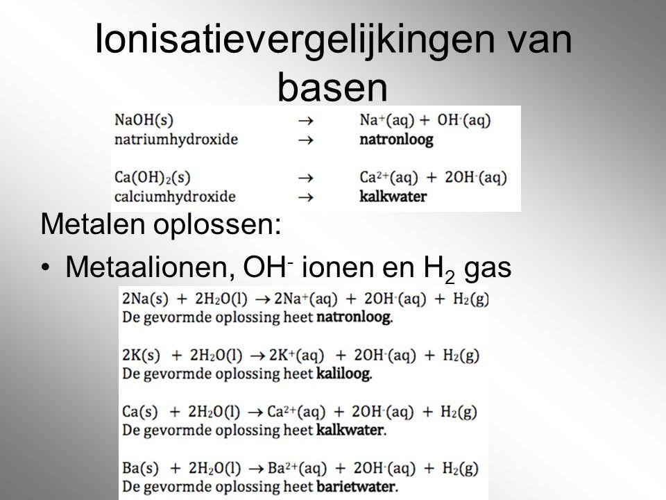 Ionisatievergelijkingen van basen Metalen oplossen: Metaalionen, OH - ionen en H 2 gas
