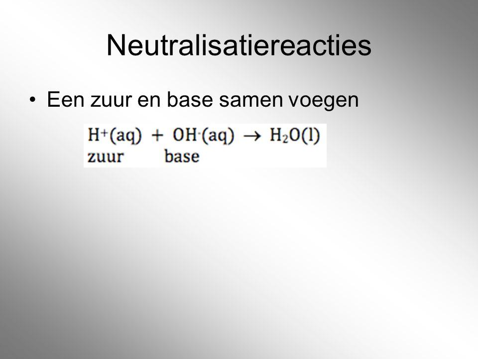 Neutralisatiereacties Een zuur en base samen voegen