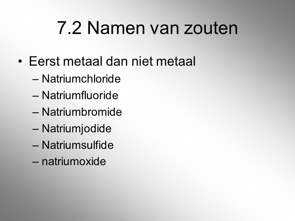 7.2 Namen van zouten Eerst metaal dan niet metaal –Natriumchloride –Natriumfluoride –Natriumbromide –Natriumjodide –Natriumsulfide –natriumoxide