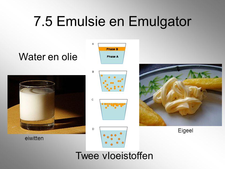 7.5 Emulsie en Emulgator eiwitten Eigeel Twee vloeistoffen Water en olie