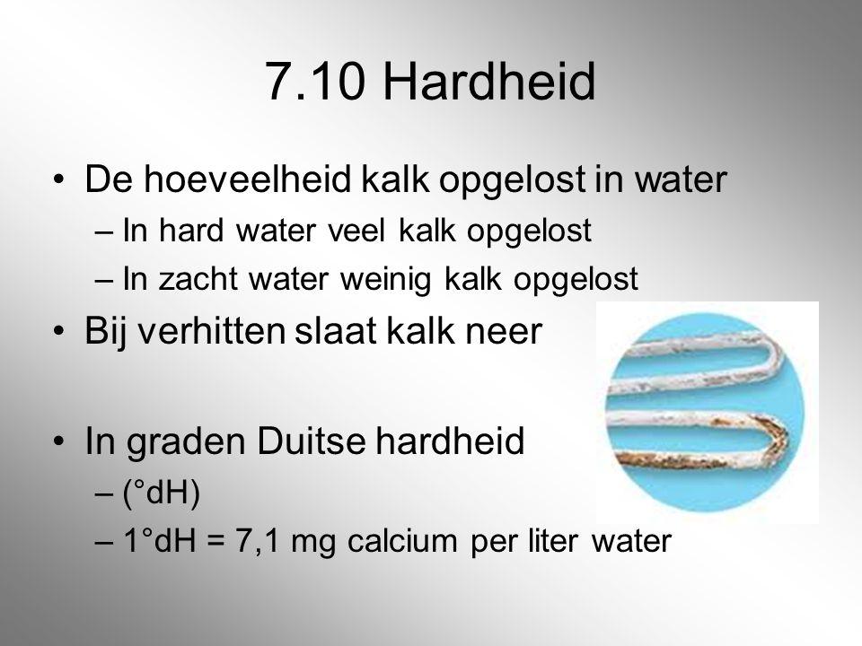 7.10 Hardheid De hoeveelheid kalk opgelost in water –In hard water veel kalk opgelost –In zacht water weinig kalk opgelost Bij verhitten slaat kalk ne