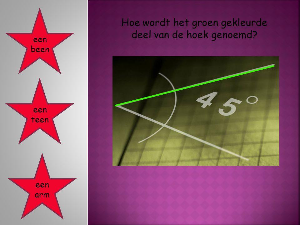 Hoe wordt het groen gekleurde deel van de hoek genoemd? een been een teen een arm