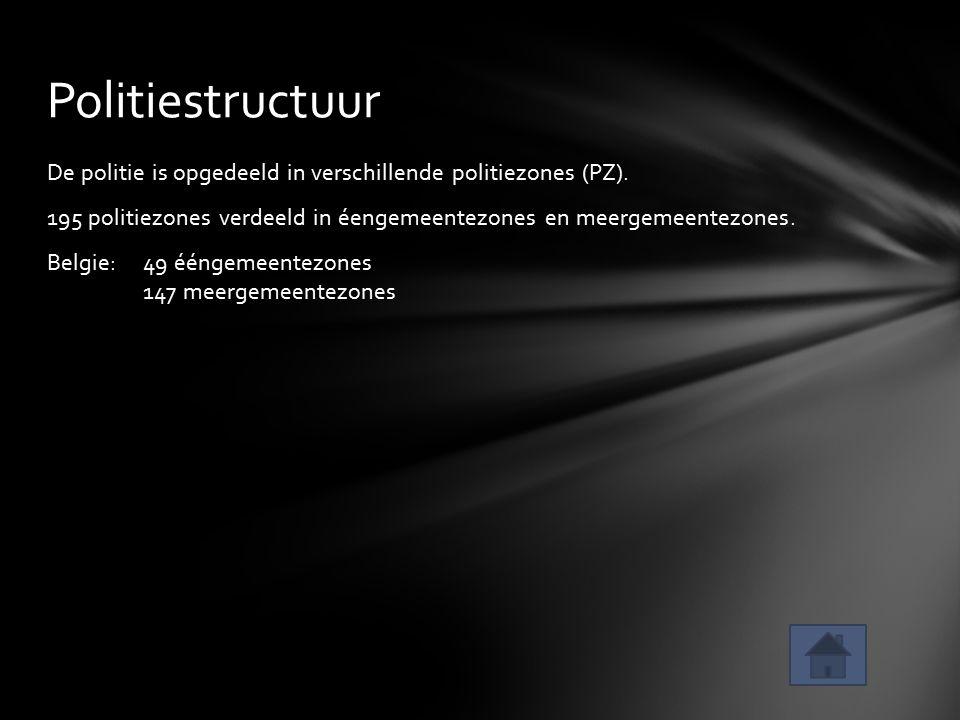 De politie is opgedeeld in verschillende politiezones (PZ). 195 politiezones verdeeld in éengemeentezones en meergemeentezones. Belgie: 49 ééngemeente