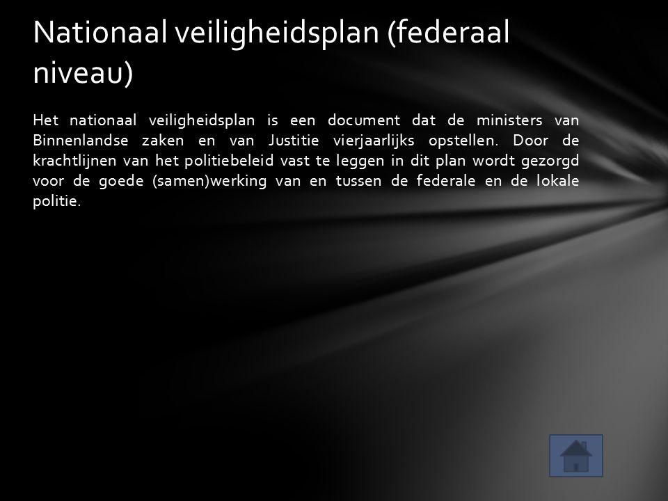 Het nationaal veiligheidsplan is een document dat de ministers van Binnenlandse zaken en van Justitie vierjaarlijks opstellen. Door de krachtlijnen va