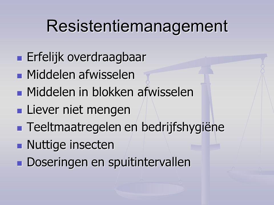 Resistentiemanagement Erfelijk overdraagbaar Erfelijk overdraagbaar Middelen afwisselen Middelen afwisselen Middelen in blokken afwisselen Middelen in