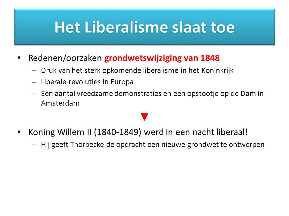 Redenen/oorzaken grondwetswijziging van 1848 – Druk van het sterk opkomende liberalisme in het Koninkrijk – Liberale revoluties in Europa – Een aantal vreedzame demonstraties en een opstootje op de Dam in Amsterdam ▼ Koning Willem II (1840-1849) werd in een nacht liberaal.