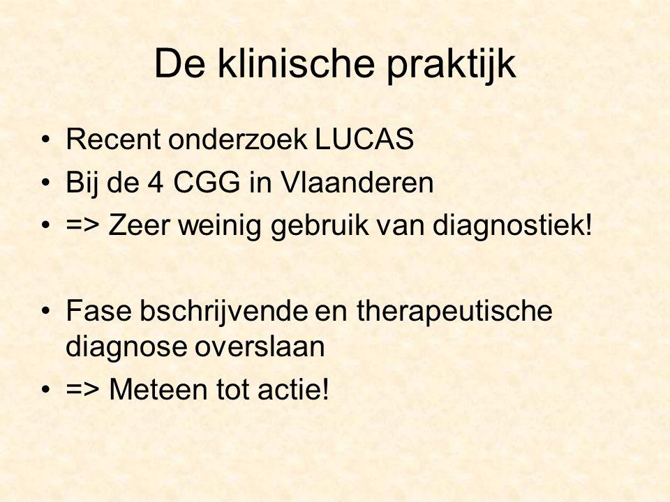 De klinische praktijk Recent onderzoek LUCAS Bij de 4 CGG in Vlaanderen => Zeer weinig gebruik van diagnostiek.
