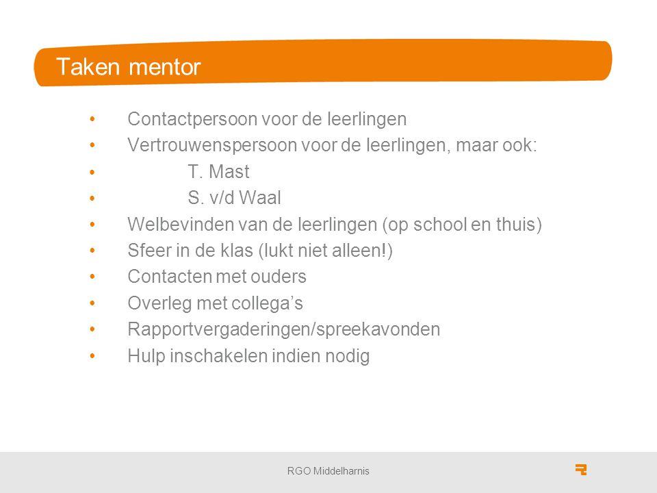 Taken mentor Contactpersoon voor de leerlingen Vertrouwenspersoon voor de leerlingen, maar ook: T.