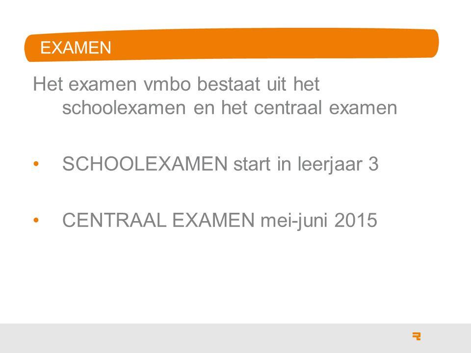 EXAMEN Het examen vmbo bestaat uit het schoolexamen en het centraal examen SCHOOLEXAMEN start in leerjaar 3 CENTRAAL EXAMEN mei-juni 2015