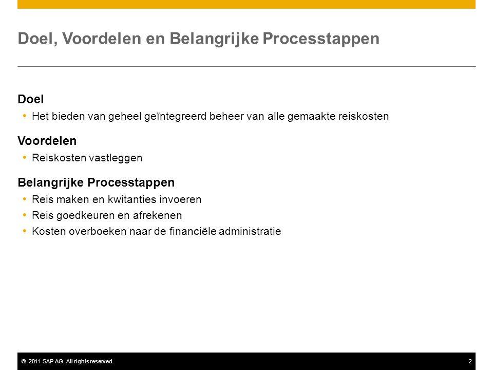 ©2011 SAP AG. All rights reserved.2 Doel, Voordelen en Belangrijke Processtappen Doel  Het bieden van geheel geïntegreerd beheer van alle gemaakte re