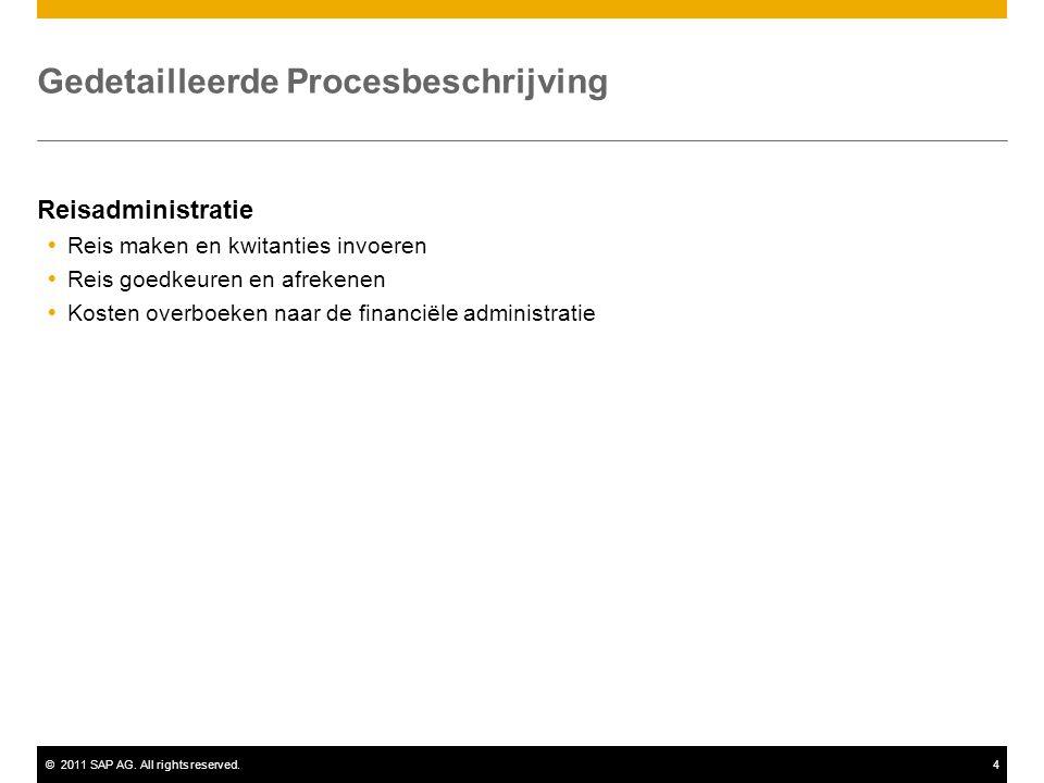 ©2011 SAP AG. All rights reserved.4 Gedetailleerde Procesbeschrijving Reisadministratie  Reis maken en kwitanties invoeren  Reis goedkeuren en afrek
