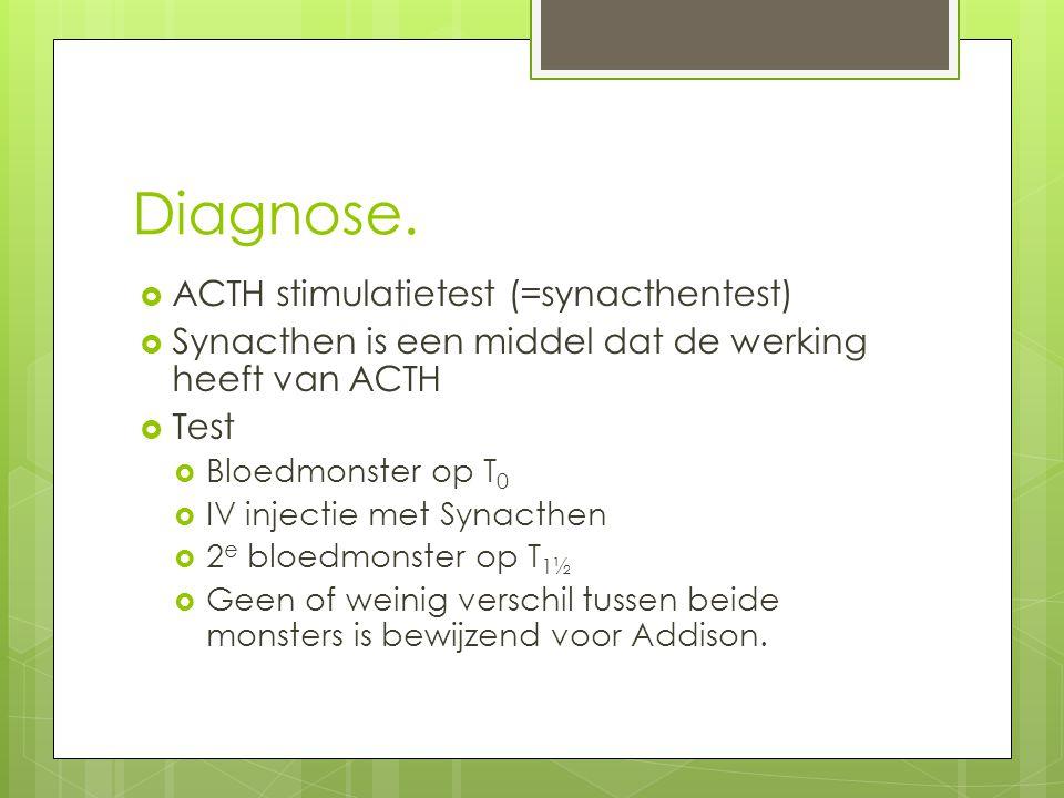 Diagnose.  ACTH stimulatietest (=synacthentest)  Synacthen is een middel dat de werking heeft van ACTH  Test  Bloedmonster op T 0  IV injectie me