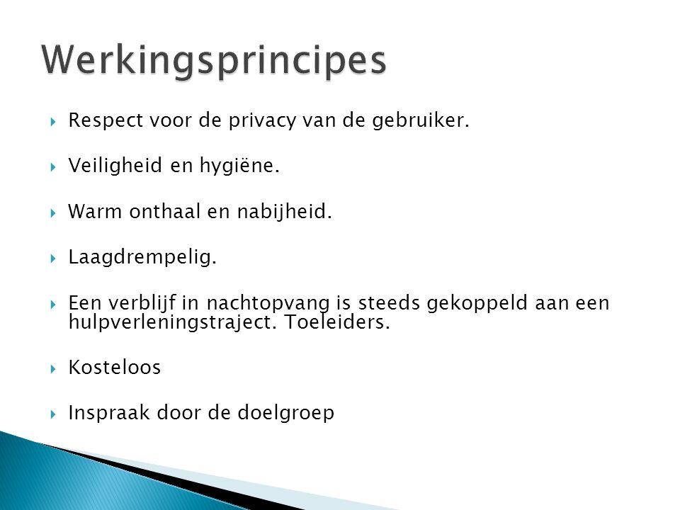  Respect voor de privacy van de gebruiker.  Veiligheid en hygiëne.