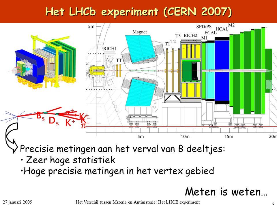 6 27 januari 2005Het Verschil tussen Materie en Antimaterie: Het LHCB experiment Het LHCb experiment (CERN 2007) Precisie metingen aan het verval van B deeltjes: Zeer hoge statistiek Hoge precisie metingen in het vertex gebied BsBs KK KK ,K,K  DsDs Meten is weten…