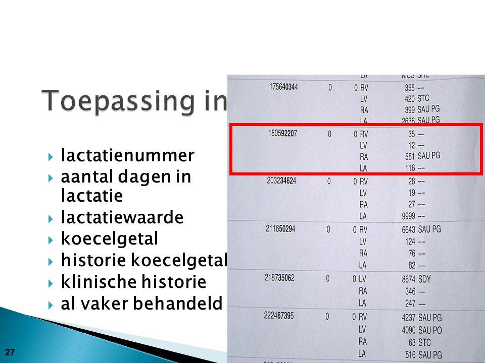 28  vaars  60 dagen in lactatie  105 lactatiewaarde  430 koecelgetal  250 – 430 historie koecelgetal  Geen klinische historie  Niet vaker behandeld  Behandelen!