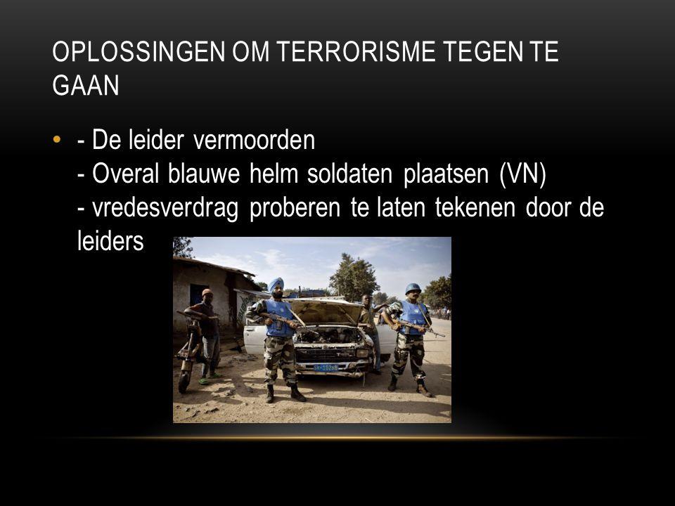 OPLOSSINGEN OM TERRORISME TEGEN TE GAAN - De leider vermoorden - Overal blauwe helm soldaten plaatsen (VN) - vredesverdrag proberen te laten tekenen d