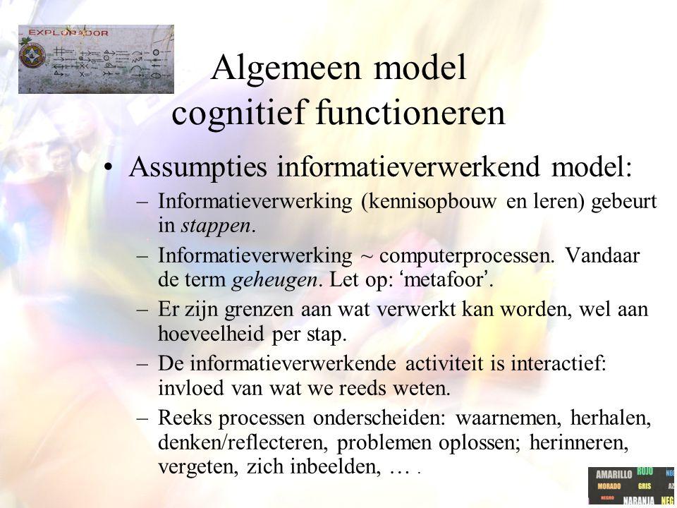 Algemeen model cognitief functioneren Assumpties informatieverwerkend model: –Informatieverwerking (kennisopbouw en leren) gebeurt in stappen. –Inform