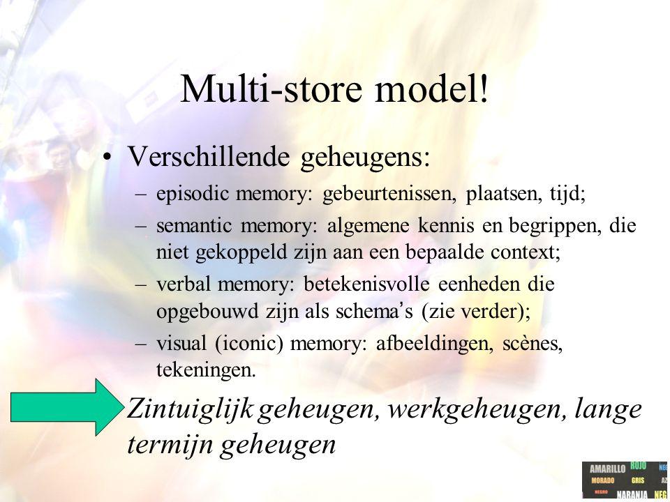Multi-store model! Verschillende geheugens: –episodic memory: gebeurtenissen, plaatsen, tijd; –semantic memory: algemene kennis en begrippen, die niet