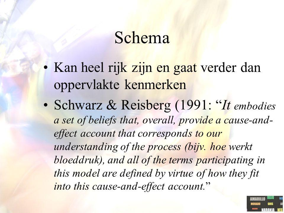 """Schema Kan heel rijk zijn en gaat verder dan oppervlakte kenmerken Schwarz & Reisberg (1991: """"It embodies a set of beliefs that, overall, provide a ca"""