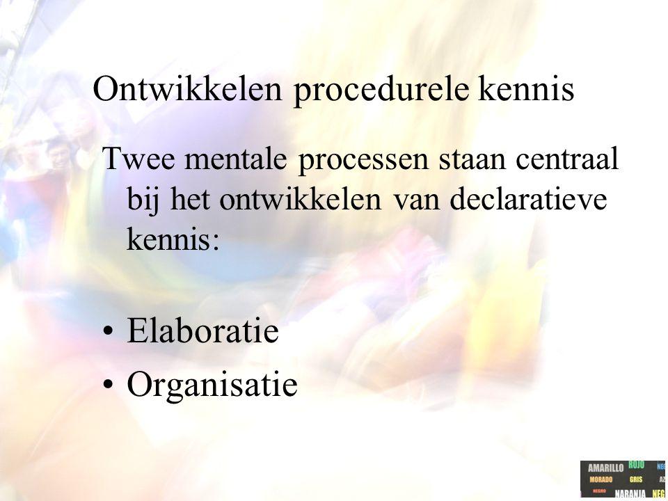 Ontwikkelen procedurele kennis Twee mentale processen staan centraal bij het ontwikkelen van declaratieve kennis: Elaboratie Organisatie