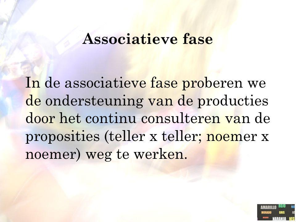 In de associatieve fase proberen we de ondersteuning van de producties door het continu consulteren van de proposities (teller x teller; noemer x noem