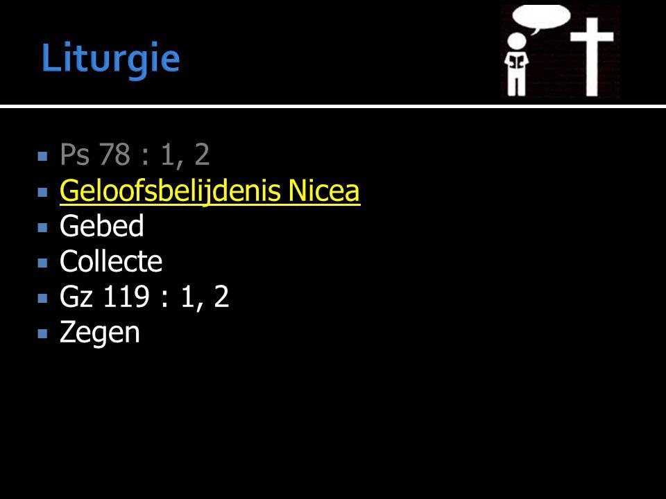  Ps 78 : 1, 2  Geloofsbelijdenis Nicea  Gebed  Collecte  Gz 119 : 1, 2  Zegen