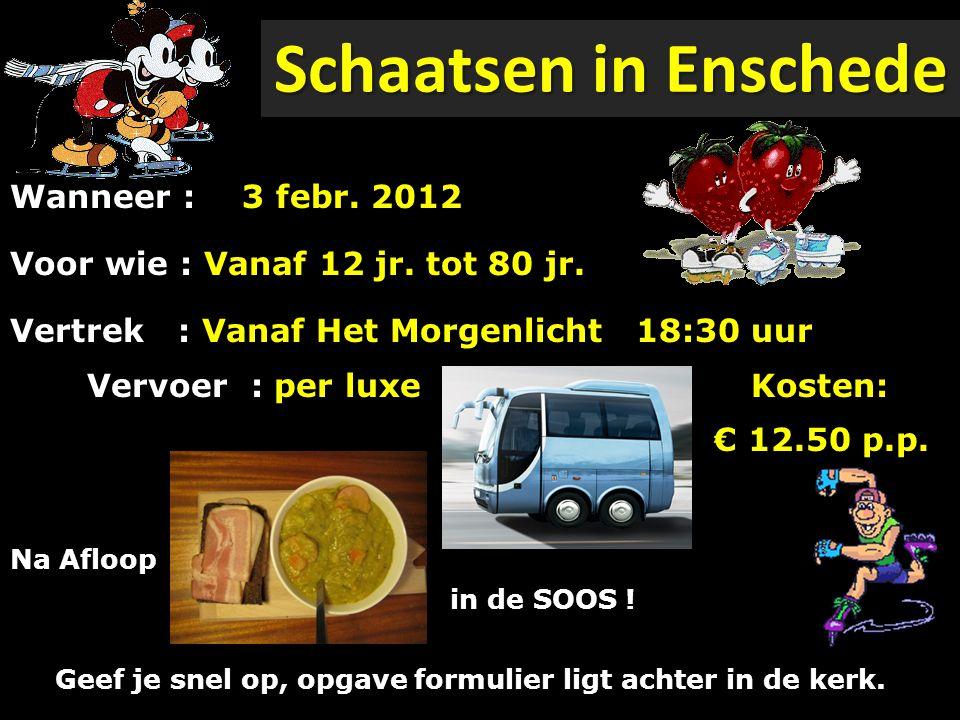 Schaatsen in Enschede Wanneer : Voor wie : Vanaf 12 jr.