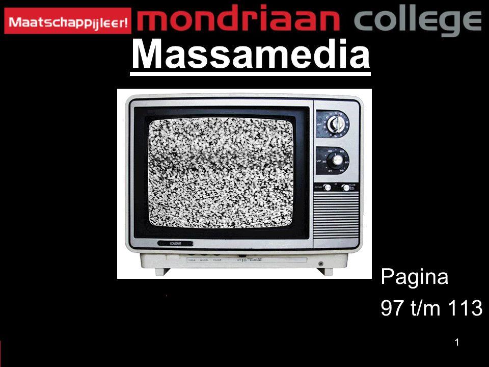32 MASSAMEDIA Tijdschriften: -Gaan niet over nieuws -Meestal over 1 onderwerp -Meestal eens per week of per maand Crossmedia: -Mix van verschillende soorten media -Vb: krant met een website -Winkel met een webshop §2: TV, radio, kranten en internet