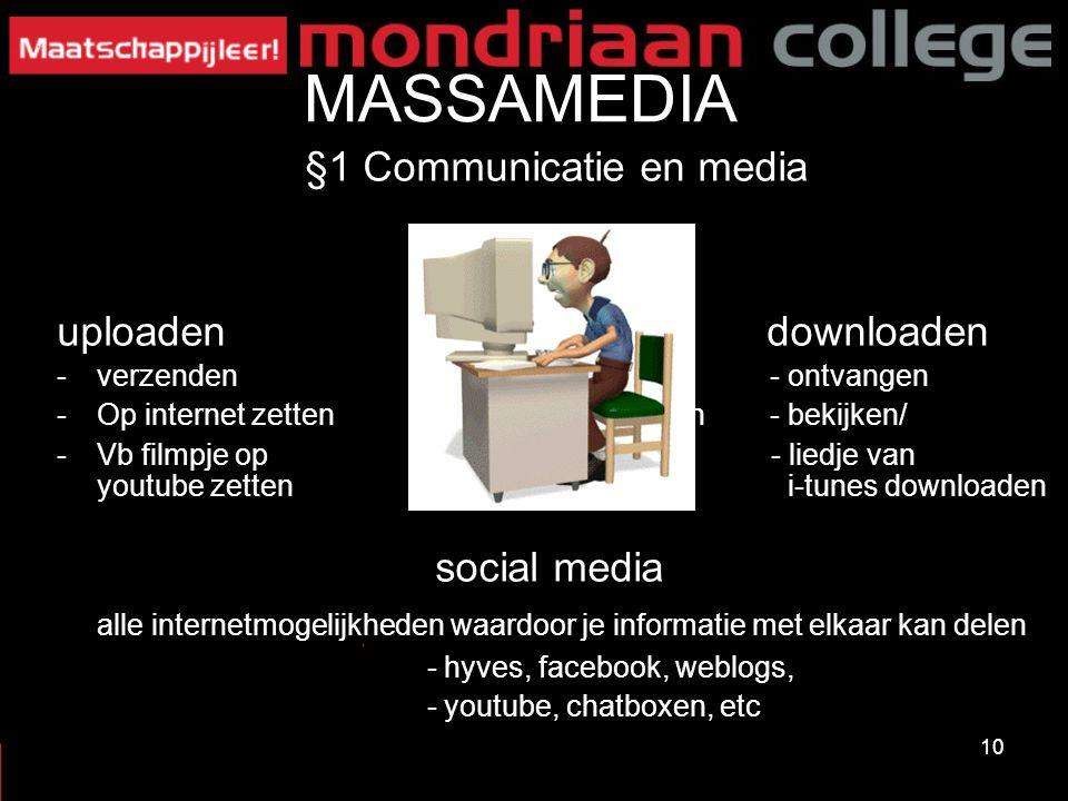 10 MASSAMEDIA §1 Communicatie en media uploaden downloaden -verzenden - ontvangen -Op internet zetten- vb cn - bekijken/ -Vb filmpje op - liedje van y