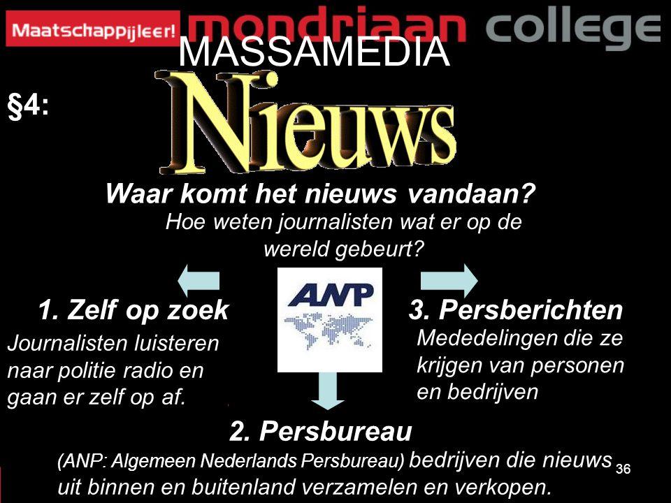 36 MASSAMEDIA §4: Waar komt het nieuws vandaan? 3. Persberichten1. Zelf op zoek 2. Persbureau Hoe weten journalisten wat er op de wereld gebeurt? Jour