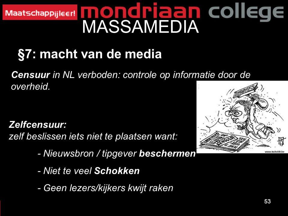 53 MASSAMEDIA §7: macht van de media Zelfcensuur: zelf beslissen iets niet te plaatsen want: - Nieuwsbron / tipgever beschermen - Niet te veel Schokke