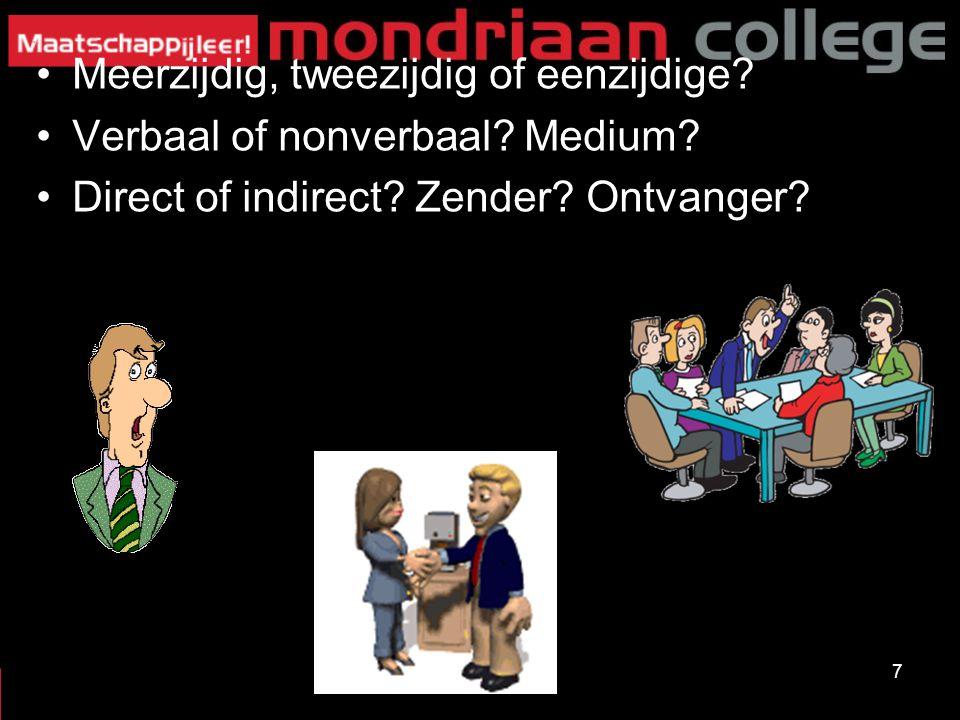 Meerzijdig, tweezijdig of eenzijdige? Verbaal of nonverbaal? Medium? Direct of indirect? Zender? Ontvanger? 7