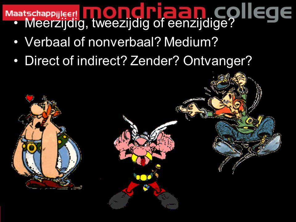 Meerzijdig, tweezijdig of eenzijdige? Verbaal of nonverbaal? Medium? Direct of indirect? Zender? Ontvanger? 8