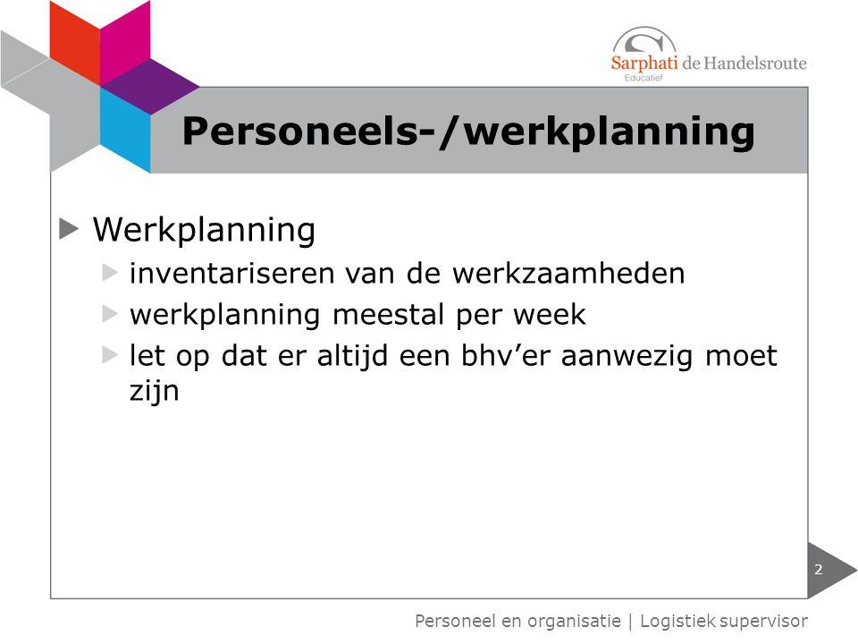 Werkplanning inventariseren van de werkzaamheden werkplanning meestal per week let op dat er altijd een bhv'er aanwezig moet zijn 2 Personeel en organ