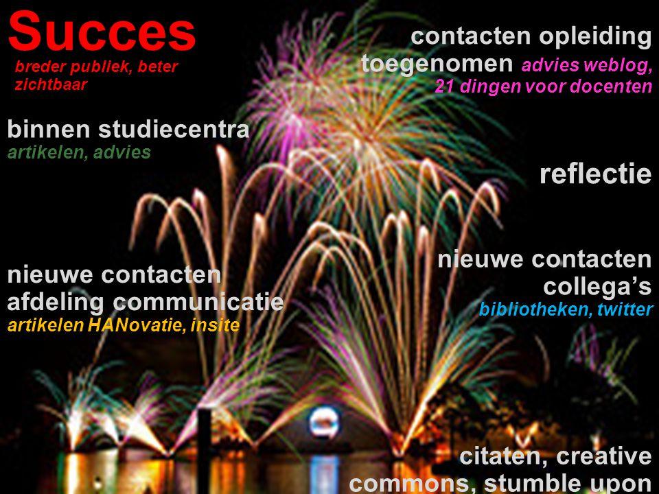 Succes reflectie contacten opleiding toegenomen advies weblog, 21 dingen voor docenten nieuwe contacten afdeling communicatie artikelen HANovatie, ins