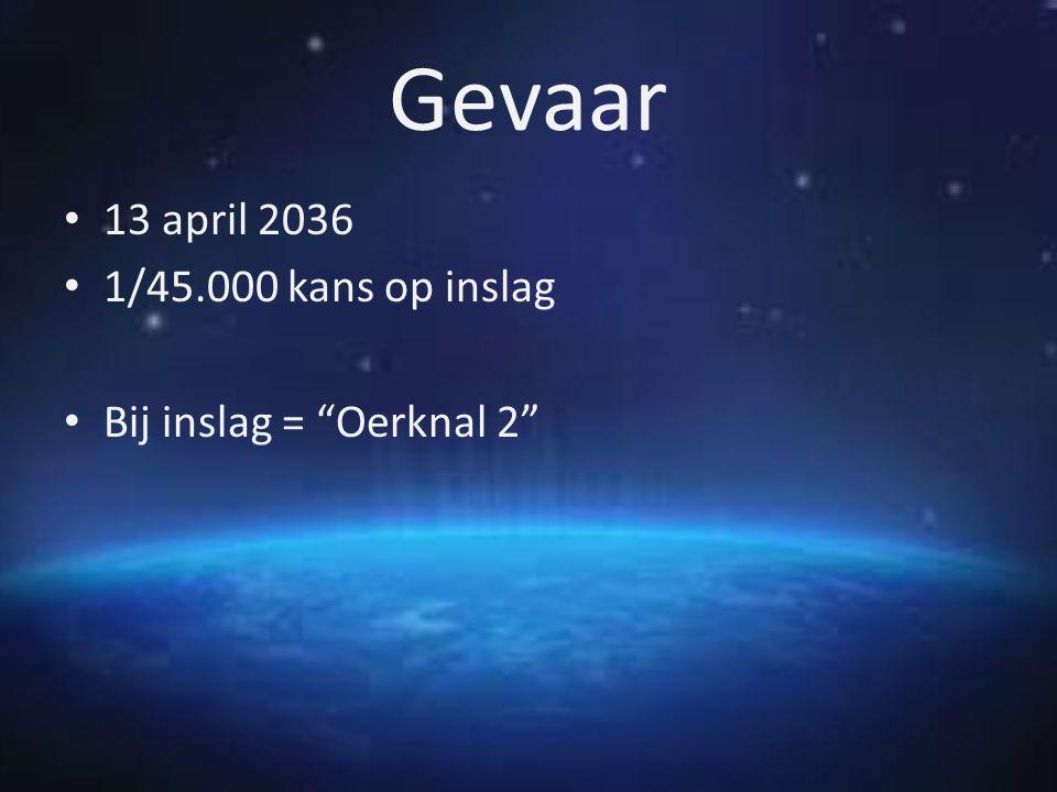 "Gevaar 13 april 2036 1/45.000 kans op inslag Bij inslag = ""Oerknal 2"""